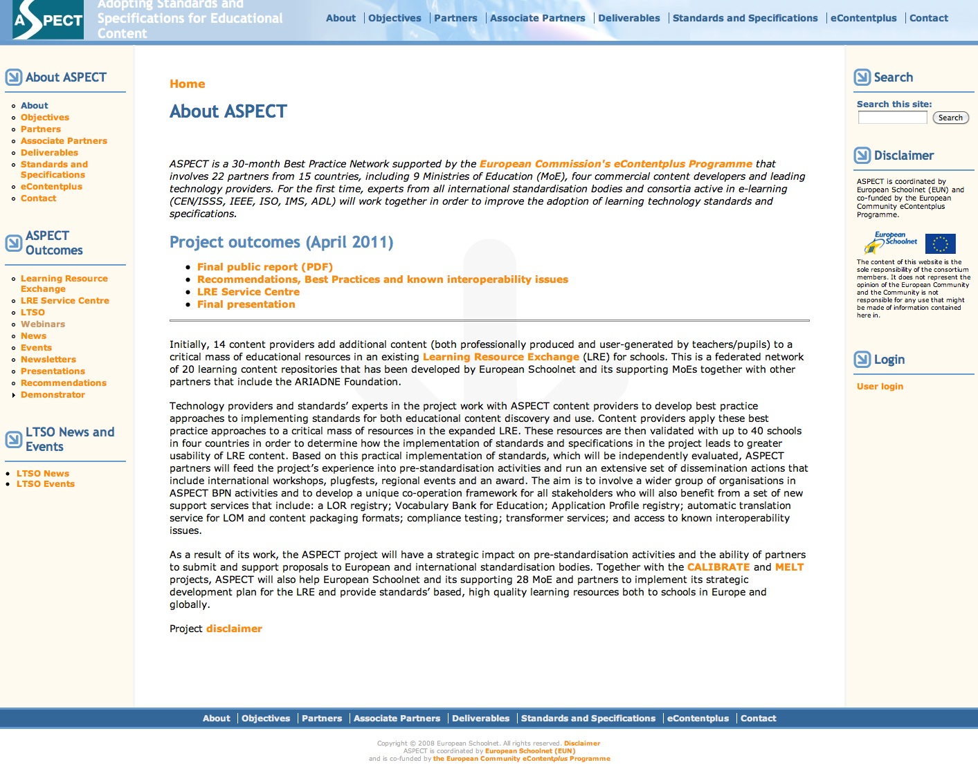 ASPECT: Adopting Standards and Specifications for Educational Content | Recurso educativo 39242